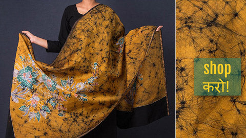 Batik Print Handloom Maheshwari Silk Dupattas with Zari in Indonesian Style