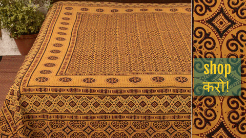 ❋ Chaar Kaam Ajrakh Block Print Natural Dyed Cotton Double Bed Covers ❋