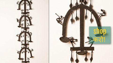 Bastar Tribal Wrought Iron Crafts - Masks, Candle Stands, Wall Hangers, Lamps