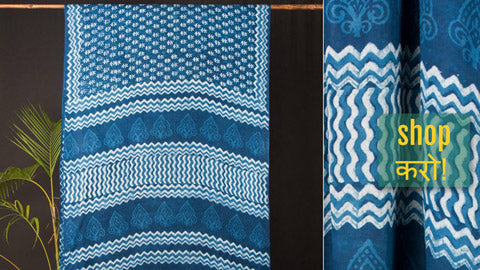 ☘ Nandana Print Double Dabu Indigo Cotton Sarees from Tarapur ☘