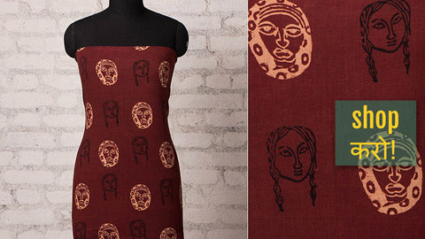Bindaas Block Print Natural Dyed Cotton Precut Fabrics