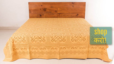 ✾ Barmer Applique Cotton Double Bedcovers by GVCS ✾