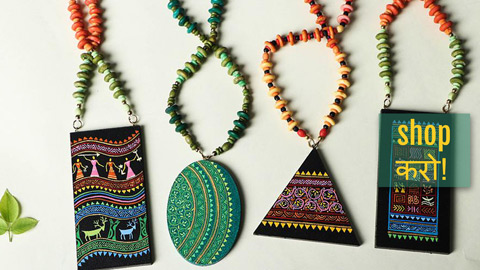 Miniature Handpainted Wooden Necklace Sets by Rajesh & Monali