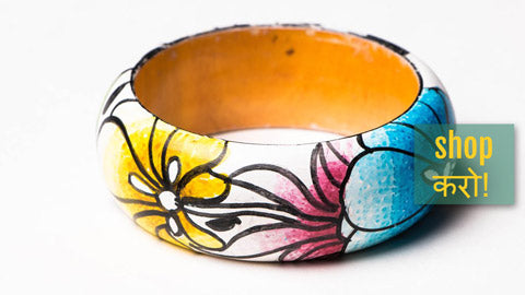 Kerala Mural Hand Painted wooden Bangles by Sujith