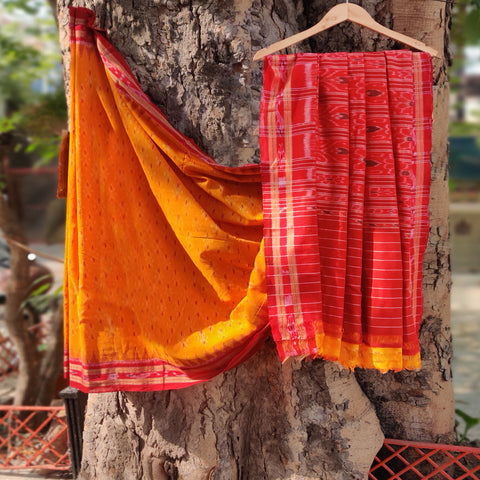 Sambalpuri Ikat Handloom Mercerised Cotton Sarees