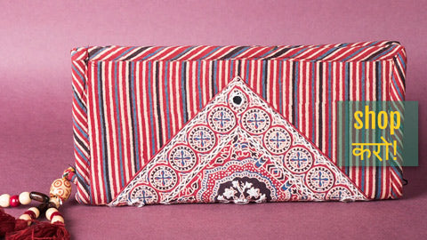 Ajrakh Handblock Printed Clutch Wallets, Sling & Hand Bags