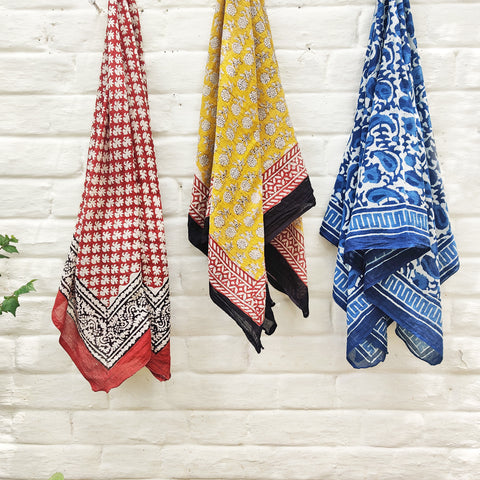 Shibori Tie-Dye & Block Print Pure Cotton Scarves