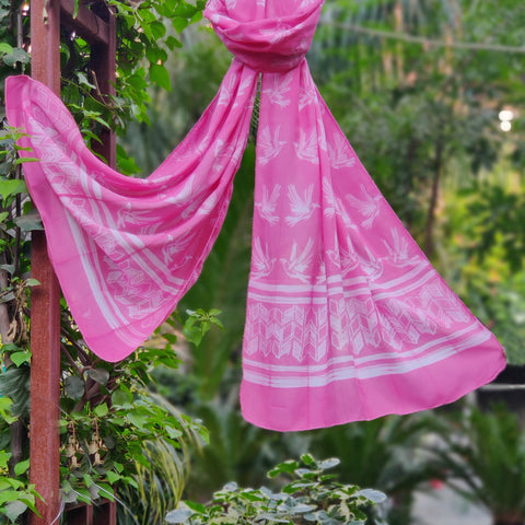 Shibori Pure Modal Cotton & Chanderi Silk Handloom Stoles & Dupattas by Ruisa