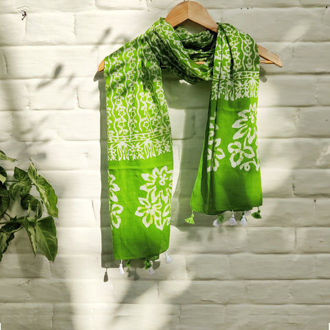 Batik Hand Prints Pure Cotton Stoles with Tassels
