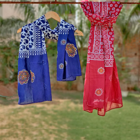 Traditional Rogan Art Painted Batik Cotton Stoles by Jabbar Khatri