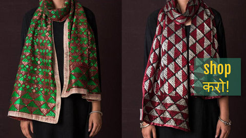 Traditional Phulkari Embroidered Cotton & Kota Doria Silk Stoles by Lajwanti Chabra