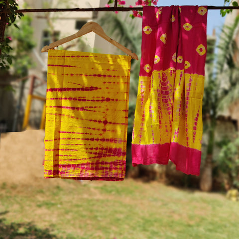 3pc Silk, Kota Doria & Cotton Suit Material Sets in Block, Batik Prints & Shibori Tye-Dye