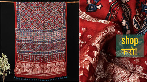 New! Ajrakh Block Print Sarees, Stoles & Dupattas in Modal, Chanderi Silk & Cotton by Sufiyan Khatri