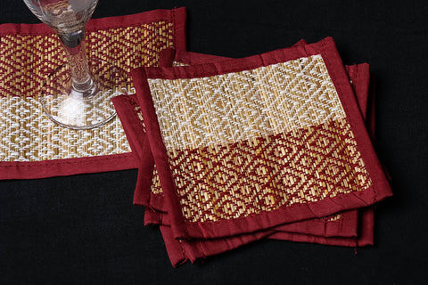 Madur Grass Square Coasters of Midnapur (Set of 6)