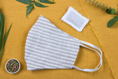 2 Layer Linen Fabric Snug Fit Face Mask with Custom Herb Pocket