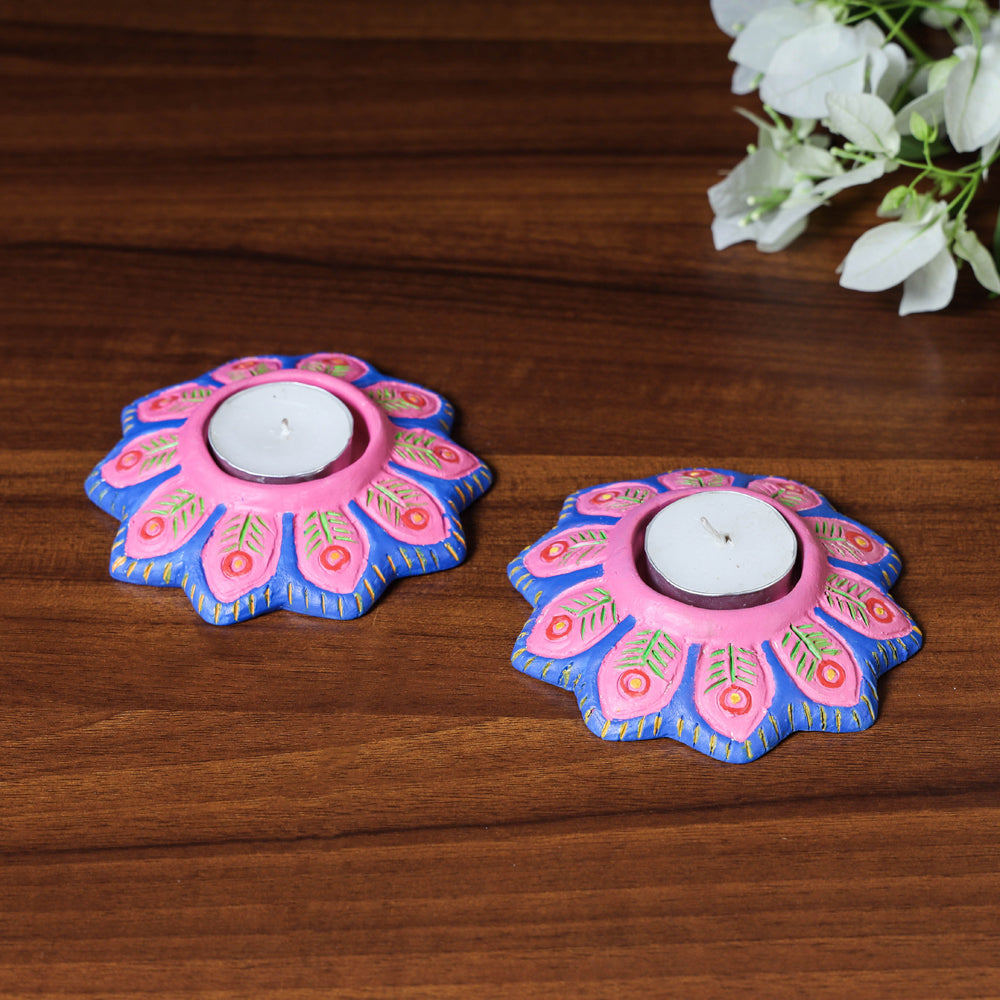Flower - Handpainted Clay Candle Holders (Set of 2)