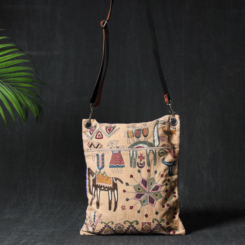Kantha Heavy Hand Embroidered Cotton Sling Bag