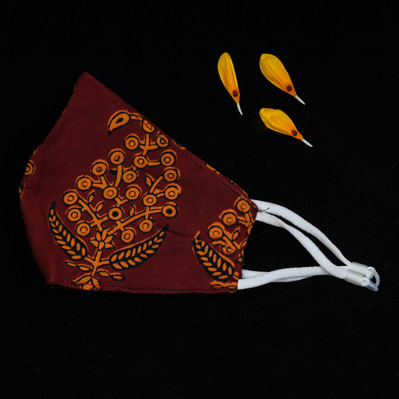 Bagh Block Print Cotton 3 Layer Snug Fit Face Cover