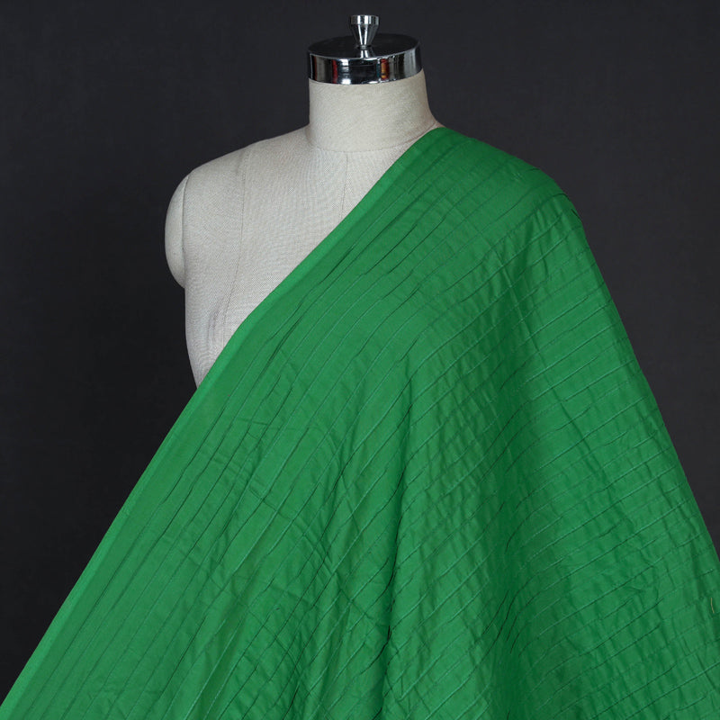 Green - Pintuck Plain Pure Cotton Fabric