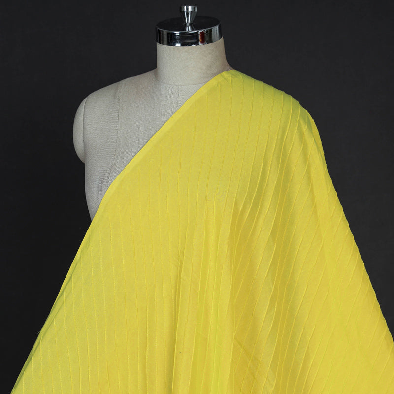 Yellow - Pintuck Plain Pure Cotton Fabric