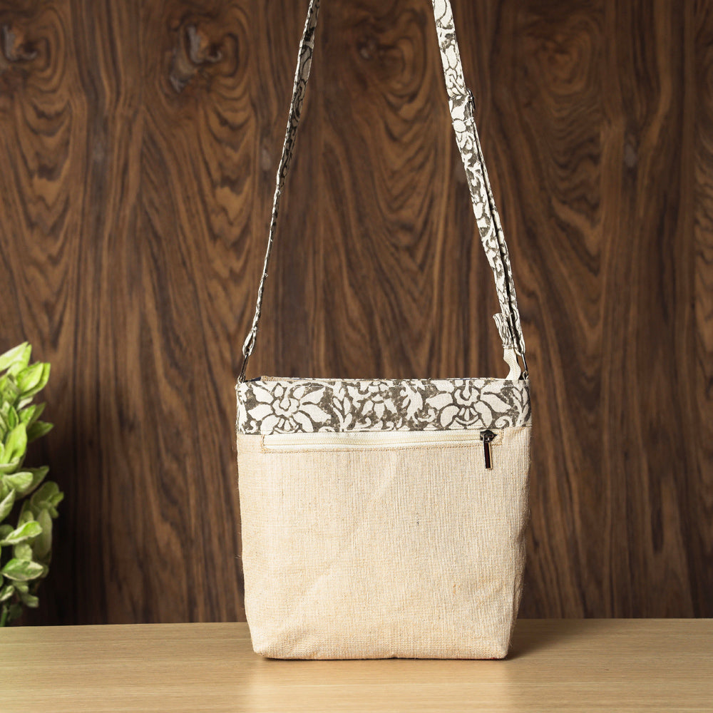Hand Block Printed Jute Sling Bag