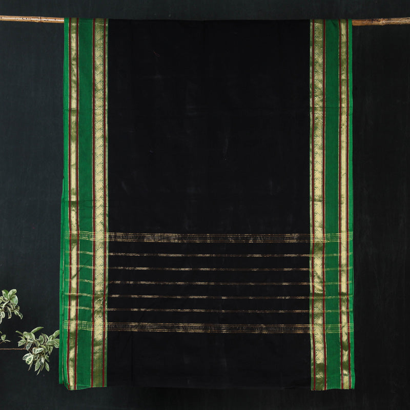 Traditional Kanchipuram Pure Cotton Zari Border Saree from Tamil Nadu