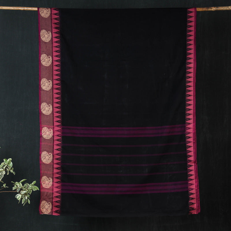 Traditional Kanchipuram Pure Cotton Big Border Saree from Tamil Nadu
