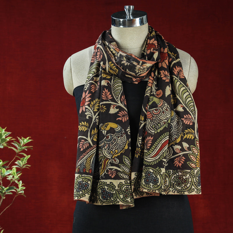 Special Kalamkari Handpainted Pure Handloom Cotton Stole by Dwaraka Plus