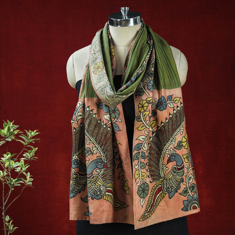 Special Kalamkari Handpainted Pure Handloom Chanderi Silk Thread Work Stole by Dwaraka Plus