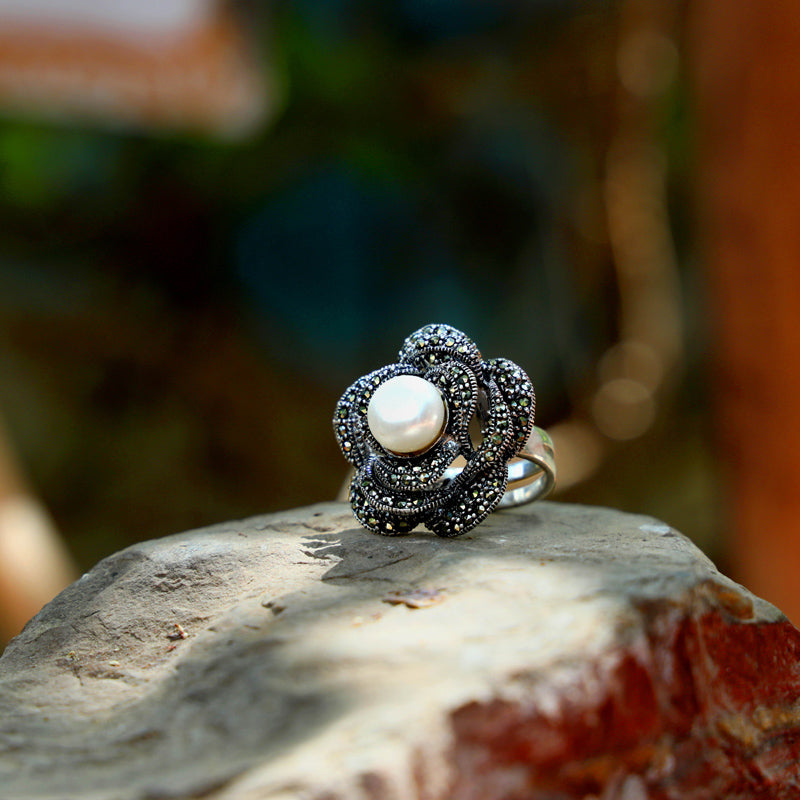Marcasite Natural Stone Sterling Silver Ring