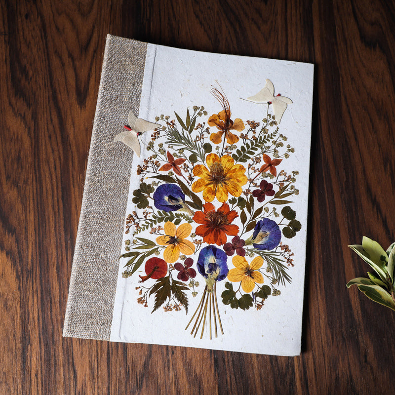 Classic Silk Paper File Folder with Natural Flowers and Butterflies