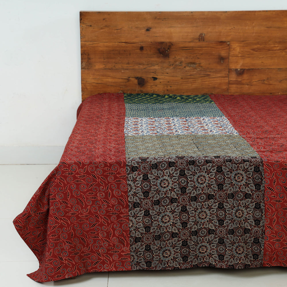 Ajrakh Block Printed Patchwork Tukdi Kaam Cotton Single Bed Cover (92 x 61 in)
