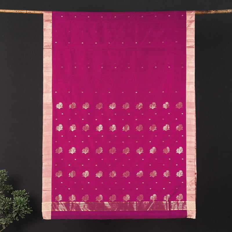 Traditional Chanderi Silk Zari Buta Handloom Saree by Rauph Khan