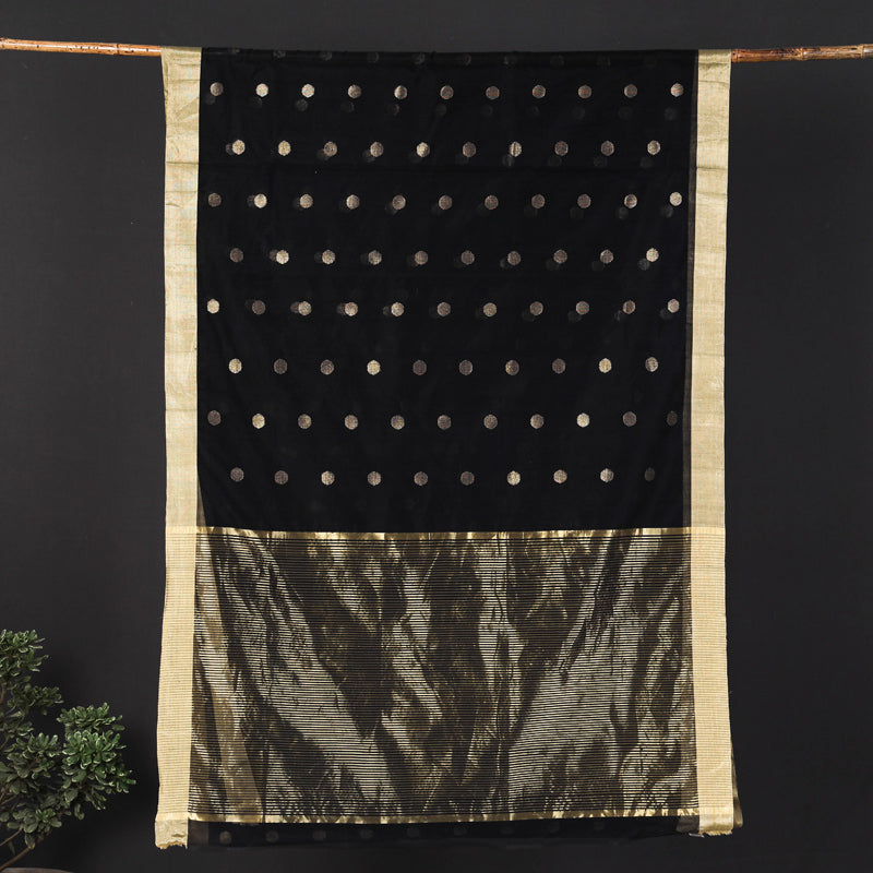 Traditional Chanderi Silk Polka Dot Zari Buti Handloom Saree by Rauph Khan