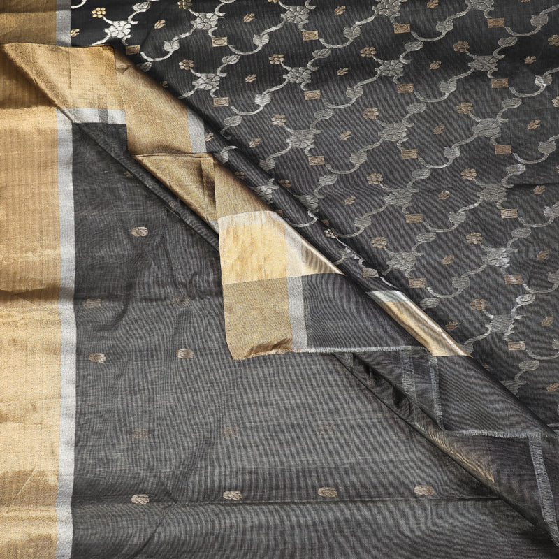 Traditional Chanderi Silk Zari Buti Handloom Saree by Rauph Khan