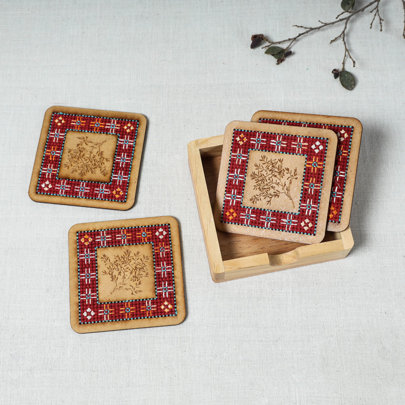 Tribal Hand Embroidered Teak Wood Coasters (Set of 4)