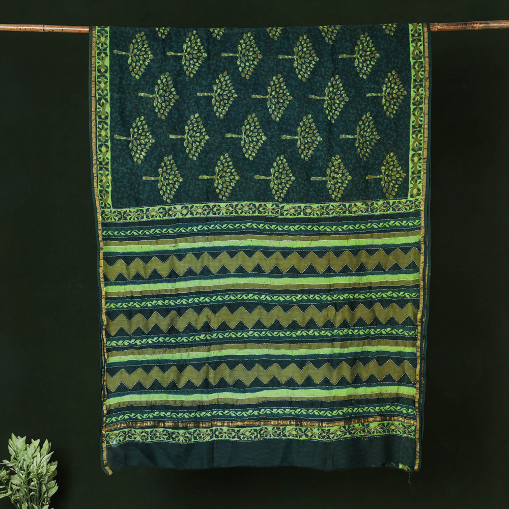 Tagai Work Block Printed Chanderi Silk Saree with Zari Border