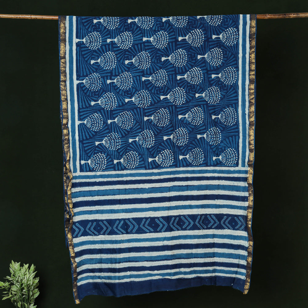 Tagai Work Block Printed Maheshwari Silk Saree with Zari Border