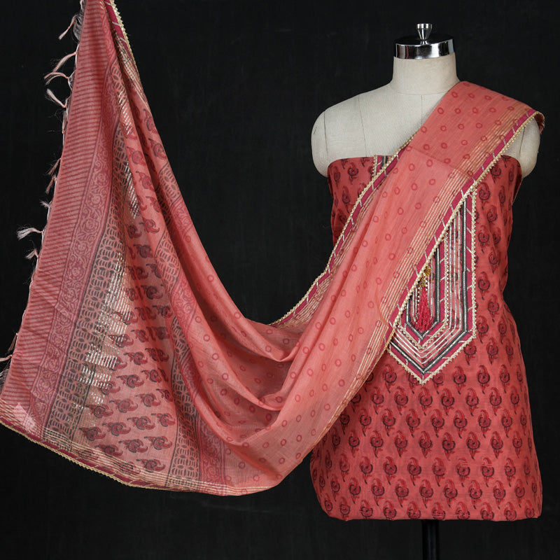 Sanganeri Block Print Chanderi Silk Gota Patti Work 3pc Suit Material Set