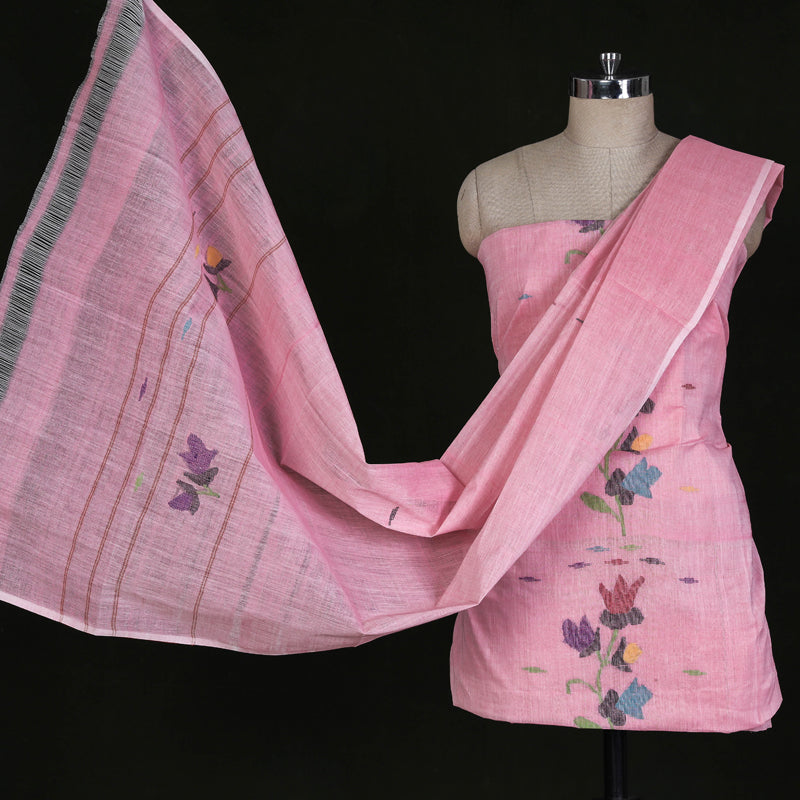 Traditional Manipuri Weave Pure Handloom Cotton 3pc Suit Material Set