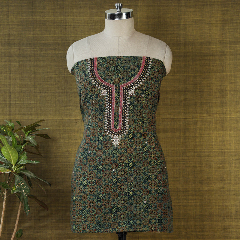 Hand Embroidered Bead Work Ajrakh Block Printed Cotton Kurta Material (2.4 meters)