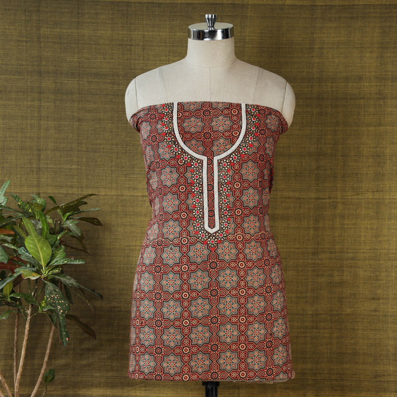 Hand Embroidered Bead Work Ajrakh Block Printed Cotton Kurta Material (2.5 meters)