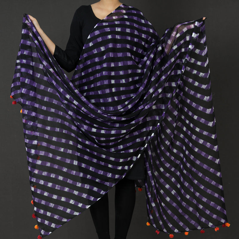 Traditional Leheriya Tie-Dye Mothra Kota Doria Cotton Dupatta