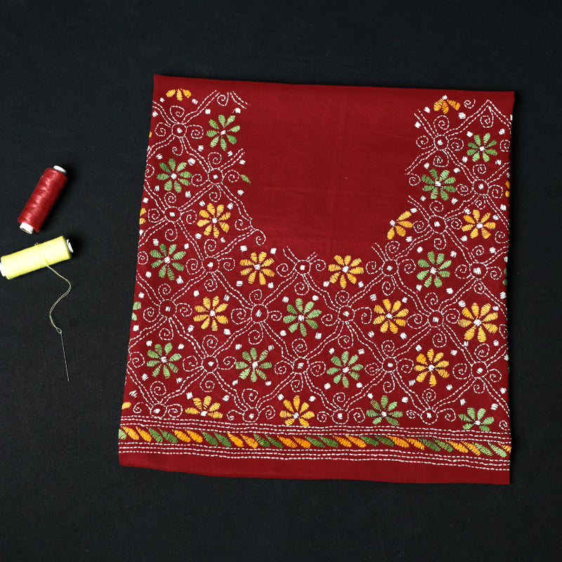 Bengal Kantha Heavy Embroidered Pure Cotton Blouse Piece