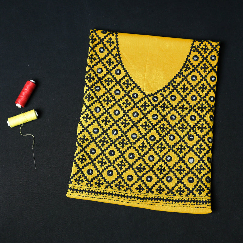 Kutchi Design Bengal Kantha Embroidered Pure Cotton Blouse Piece