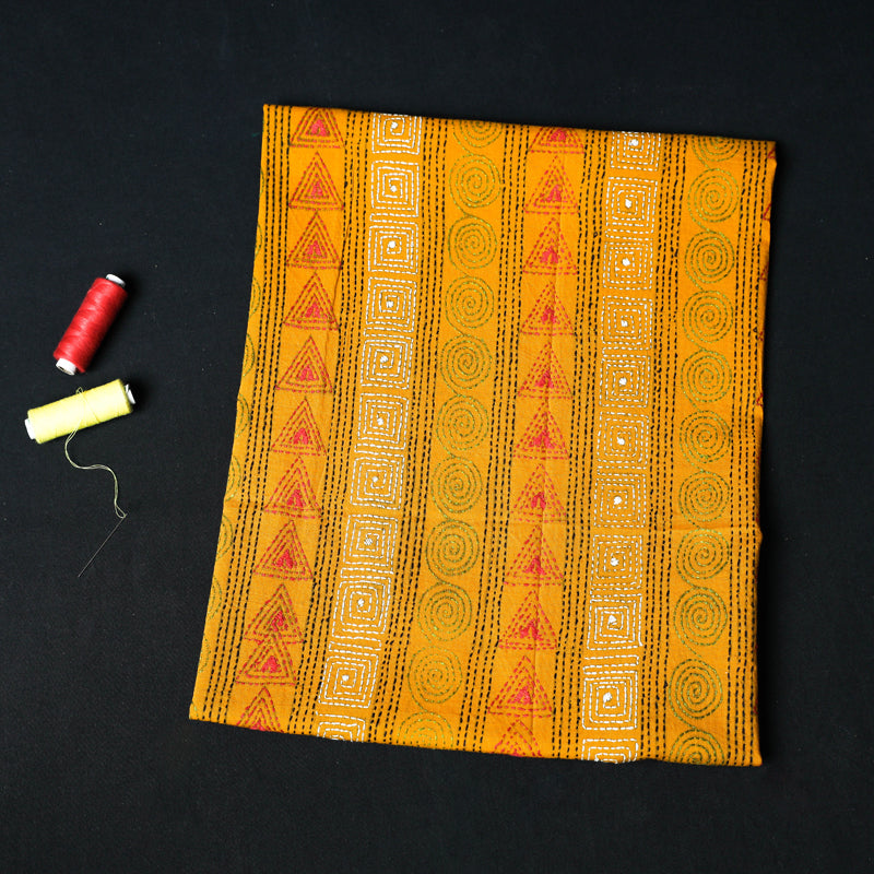 Bengal Kantha All Over Embroidered Pure Cotton Blouse Piece