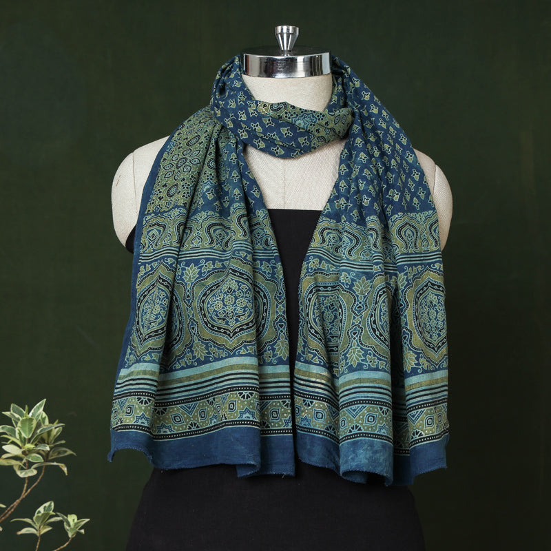 Ajrakh Hand Block Printed Natural Dyed Cotton Stole