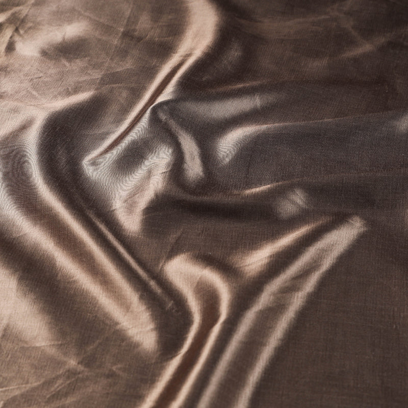 Copper - Pure Mashru Silk Plain Fabric (Width - 45 in)