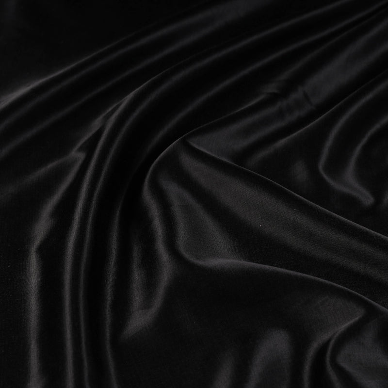 Black - Pure Mashru Silk Plain Fabric (Width - 45 in)