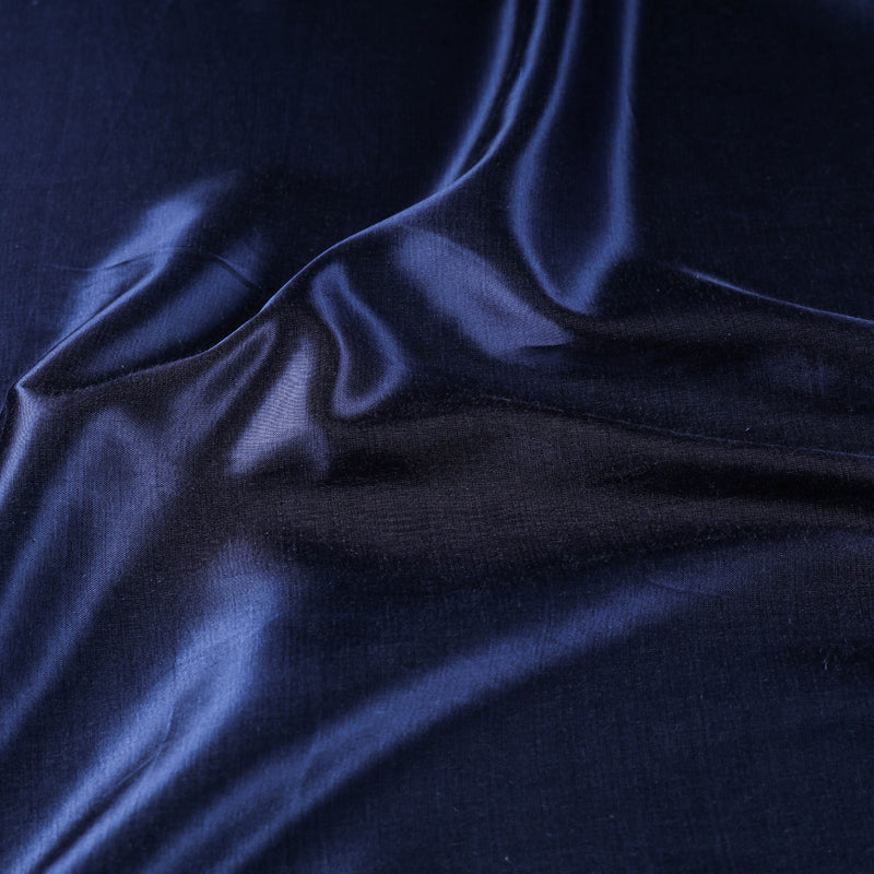 Dark Blue - Pure Mashru Silk Plain Fabric (Width - 45 in)